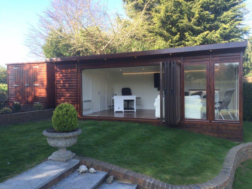 Bakers timber buildings bi fold executive summer house for Executive garden rooms