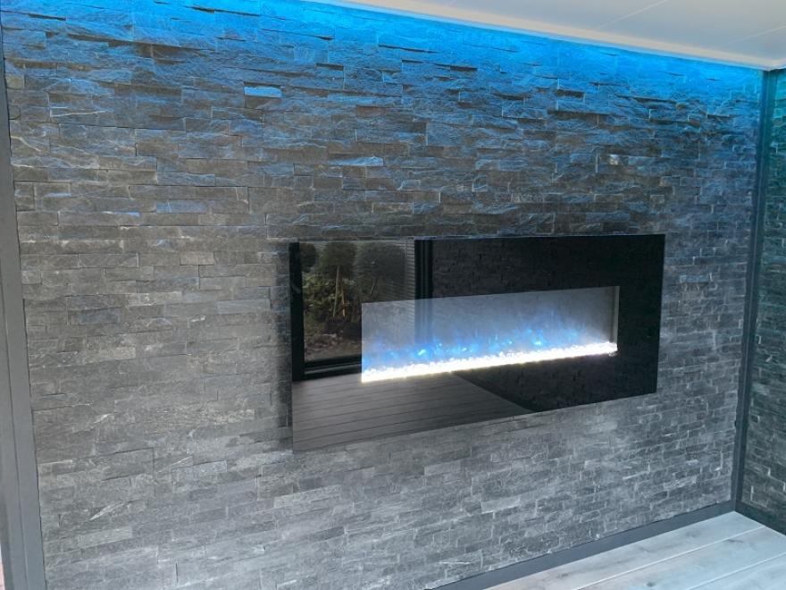 Wall Mounted Heater on Split Face Tile Wall