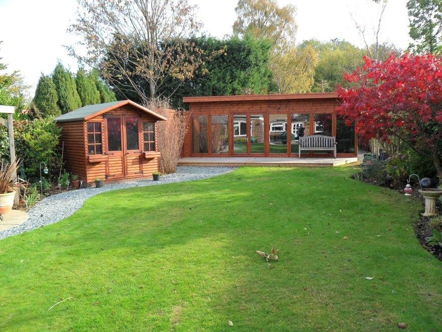 wooden office in garden