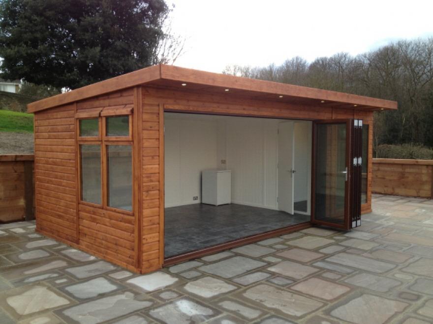 Building with door fully open