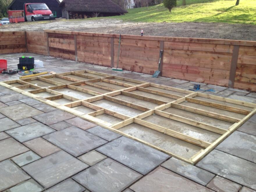 Timber frame for base in-set in slabs