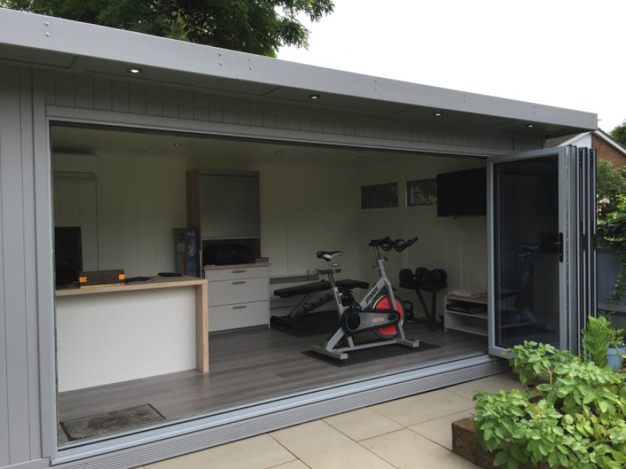 4.2m 5 door aluminium bi-folds are the ultimate in room and garden integration