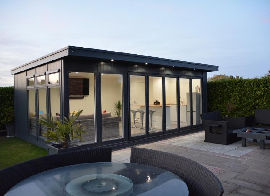 6.5m x 4.2m Bi-fold Garden Room in Anthracite