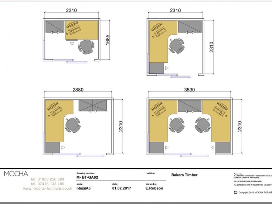 Standard furniture pack layouts