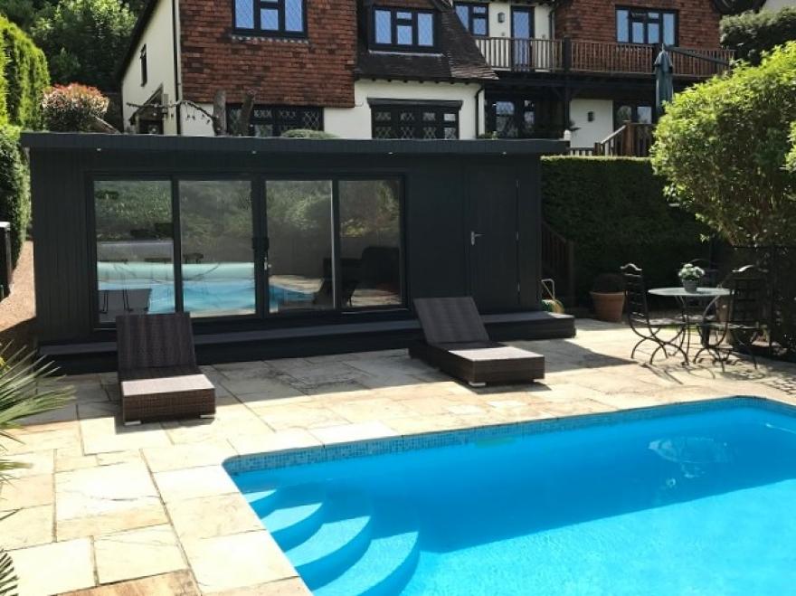 contemporary poolside combination room