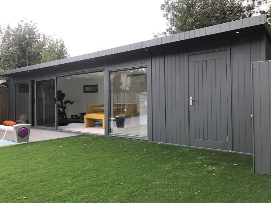 multipurpose poolside room with tri-sliding doors