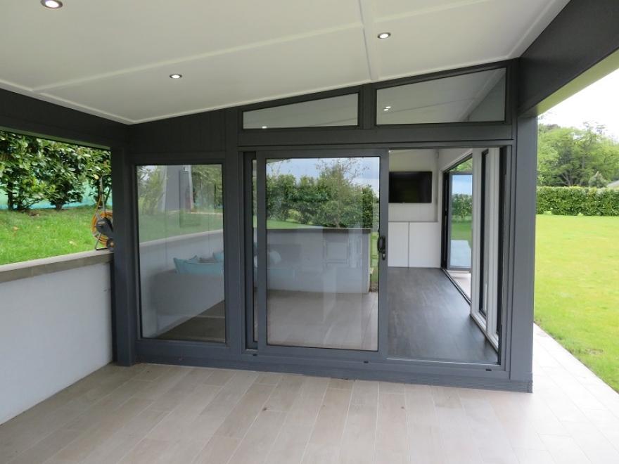 Aluminium Sliding Doors in 7015 Slate Grey Installed In Essex
