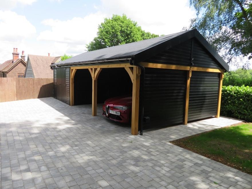 Beautiful Oak Framed Car Port & Garage Project in Sussex
