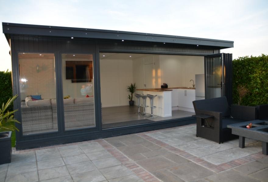 Bi-fold door garden room with kitchen, shower room and lounge area wallington surrey