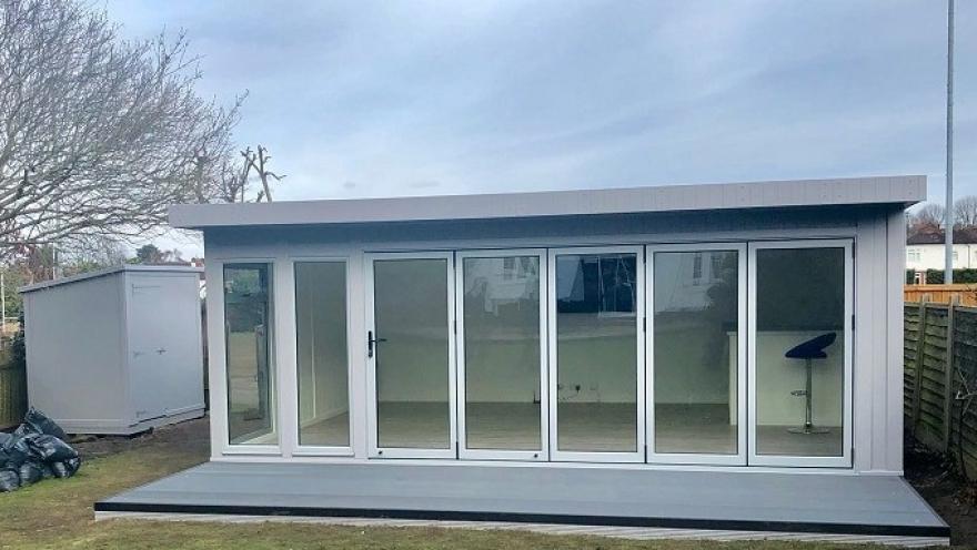games room with bi-folding doors Cheam Surrey