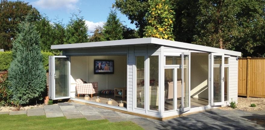 Bi-fold garden lounge with side doors to entertainment area  New Addington Surrey