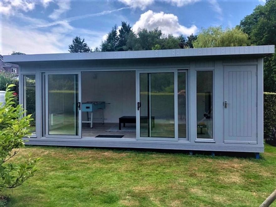 Combination Garden Room with Aluminium Sliding Doors in RAL 7004 Installed in Northiam