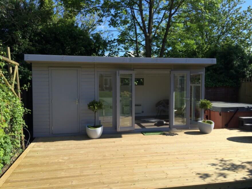 Contemporary 'Kite' combination garden room/store in Signal Grey