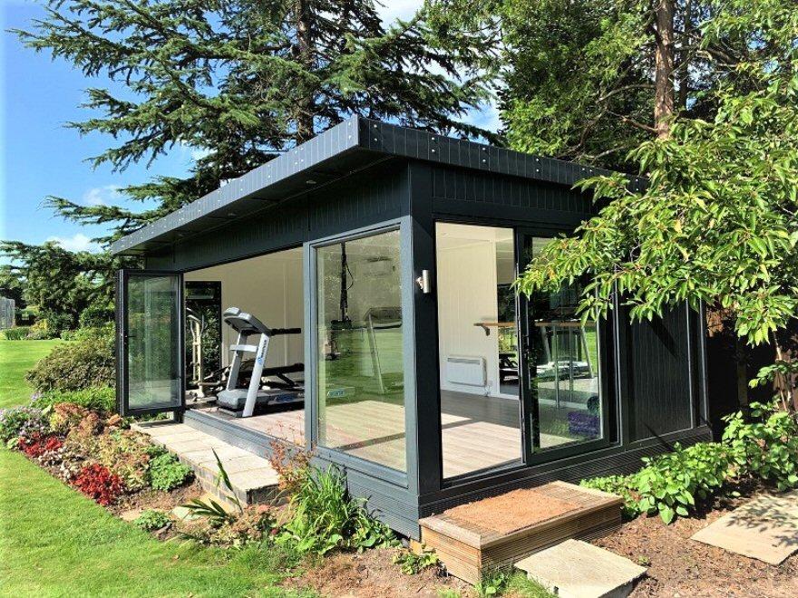 Dance Studio /Gym  / Garden Room with Aluminium Bi-fold and Sliding Doors in RAL 7016 Antracite