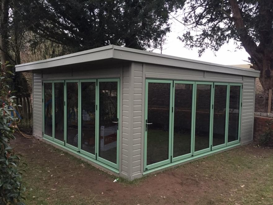 double bi-fold garden room Caterham