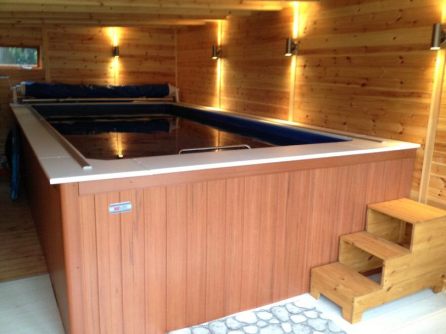 Endless pool, timber lining and Aquastep flooring
