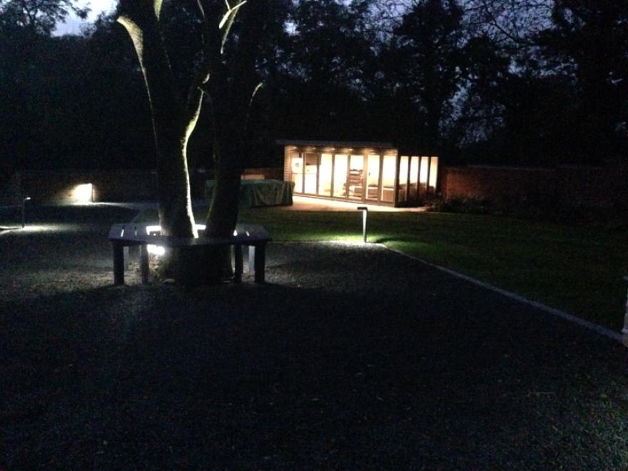 Garden room lit up in the dark