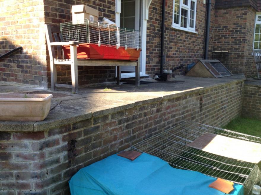 Original outside back door with balustrades removed