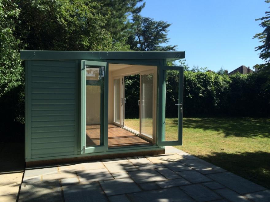 Sliding door combination room with side French doors