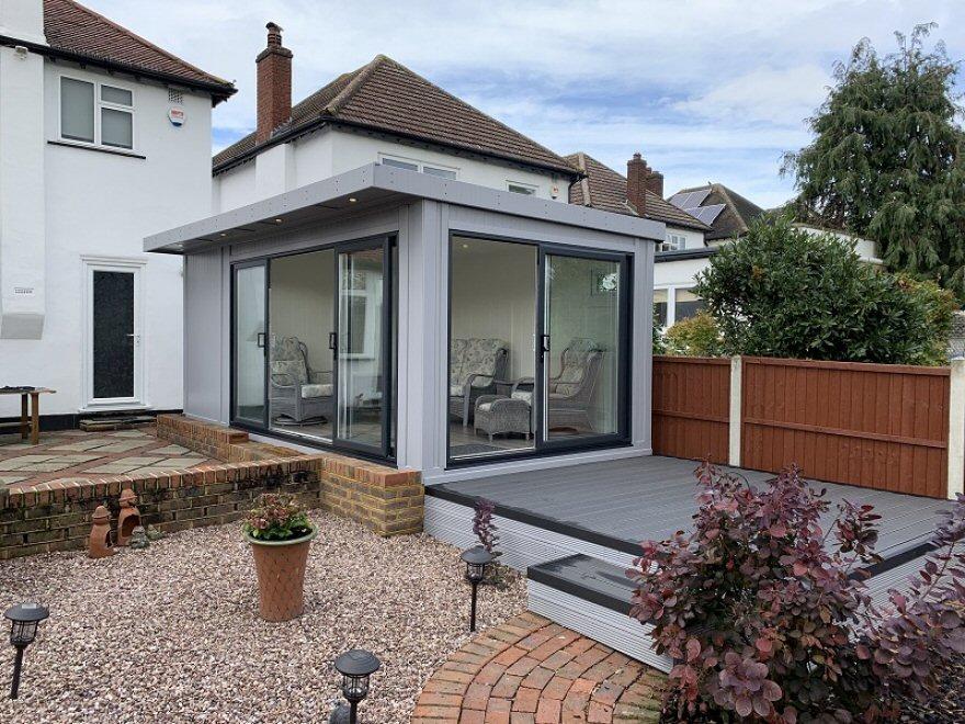 Garden Room in Epsom with Double Aspect Sliding Doors