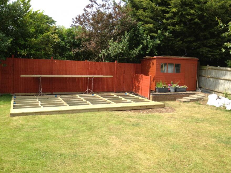 Steel & timber framed base installed