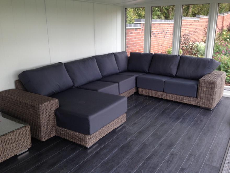 This beautifully furnishd garden room features our 'Pott Oak' laminate flooring