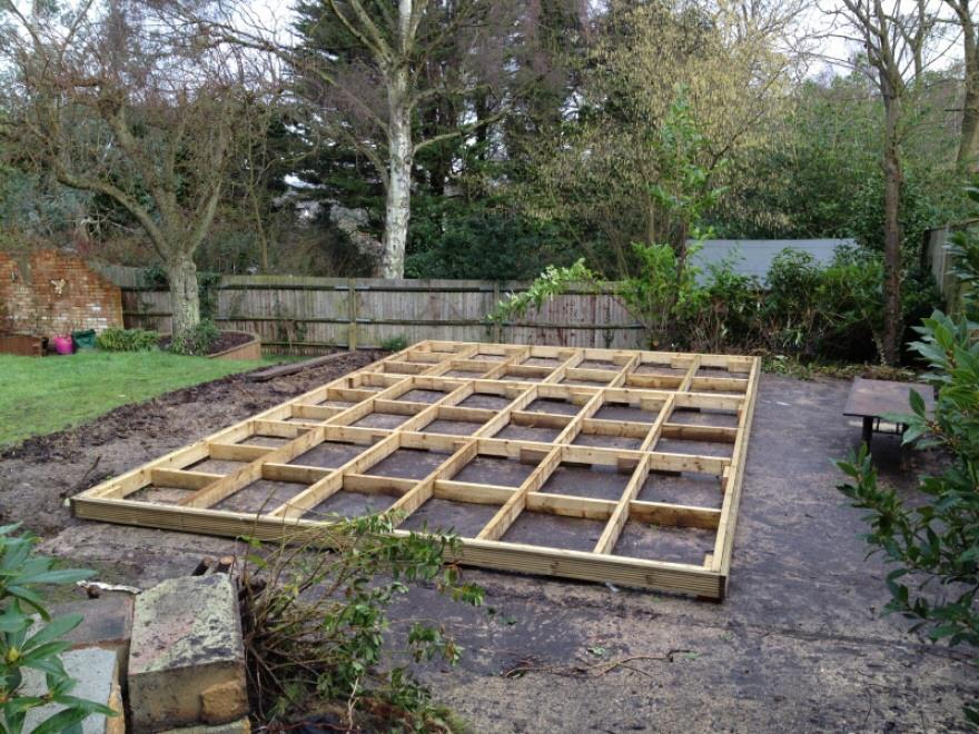 Timber framed base on existing concrete